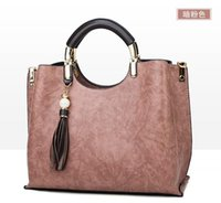 Wholesale charm tote for sale - Group buy 2019 new fashion wild bag female Korean version of the ladies shoulder bag leather charm portable Messenger bag Pink
