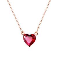 küçük altın kalp kolye toptan satış-MIGGA Narin Pembe Altın Renk Küçük Kırmızı Taş Zirkon Kristal Kalp Kolye Moda Kadınlar Kızlar Hediye Takı