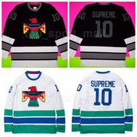 ingrosso vendita della maglia nera-Thunderbird Bird Jerseys Hockey su ghiaccio Uomo Frank Ocean Team Colore Nero Away Bianco Traspirante Per lo sport Fans Top Quality In Vendita