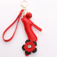 Wholesale car bell for sale - Group buy 2020 Cute High Heel Keychain PU Leather Keyrings Bells Pendant Car Key Holder Women Bag Accessories Keyfob Jewelry Gifts