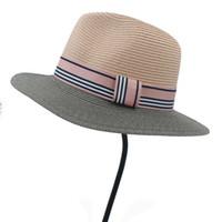 ruban de paille rose achat en gros de-Chapeau de soleil de la mode féminine paille rose pour Dame élégante bord de mer large chapeau de plage avec ruban de mode Panama 56-58CM