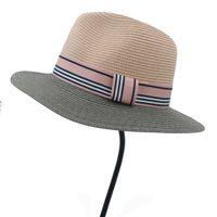 kadınlar plaj pembe şapkalar toptan satış-Moda Kadınlar Zarif Lady için Saman Pembe Güneş Şapka Bayan Sahil Geniş Ağız Plaj Şapka Moda Kurdele ile Panama 56-58 CM