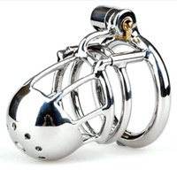 Wholesale bondage stainless steel lock for sale - Group buy New Arrival Stainless Steel Male PA Puncture Lock Cock Cage Chastity Device Penis Ring Adult Bondage Sex Toy Kidding Zone quot Bridge quot