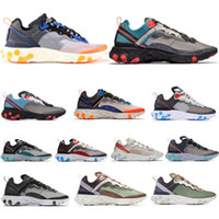 top vermelho laranja branco venda por atacado-Top quality New react element 55 87 runner shoes for men women WHITE ROYAL RED triplo preto Orange Peel mens trainer sports sneakers corredores