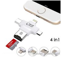 lector de tarjetas de memoria micro al por mayor-Marca 4 en 1 Tipo-c / iphone / Micro USB / USB 2.0 Lector de tarjetas de memoria Lector de tarjetas Micro SD para Android iPhone 7 Lector OTG