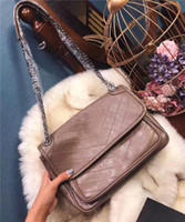 Wholesale wax oiled handbags for sale - Group buy Classic Women Top Quality V Wave Pattern Flap Chain Bag Oil Wax Real Leather Shoulder Handbag Bags Crossbody Purse Messenger bag