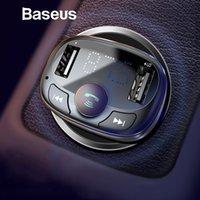 kit carregador móvel venda por atacado-Carregador de carro Baseus para Kit iPhone Mobile Phone Bluetooth Car MP3 Player Handfree Transmissor FM Radio Dual USB Car Charger Telefone