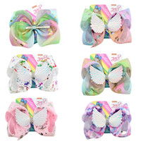 Wholesale print hot ribbon for sale - JOJO Unicorn Hairpin Angel Wings Hairpin Baby Girls Hair Bows Floral Printed Barrettes Children Rainbow Hairclip Hair Accessories Hot A52105