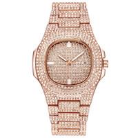 rhinestone-diamant-damen gürtel großhandel-2019 Luxus Mode Bussiness Stahl Gürtel Kalender Uhr Voller Diamanten Armbanduhr Damen Strass Uhr Reloj Mujer