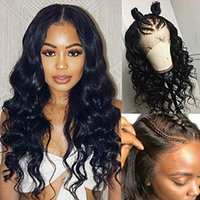 Wholesale real human hair wigs for sale - 180 density Lace Front Wigs Human Hair Pre Plucked Brazilian Virgin Body Wavy lace frontal Human Hair Wigs for Black Women Real Remy