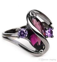 ingrosso uomini anello zaffiro nero-Moda di lusso Hip hop umano Black Gold Crystal anniversario Gemma zaffiro Anello donna uomo argento Brithday regalo di promozione gioielli alla moda