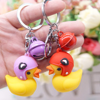 Wholesale cute anchor gifts for sale - Group buy Cute Helmet Yellow Duck Keychain D Animal Charm Doll Toy Key Ring Car Keychains Women Men Friends Lovers Gift