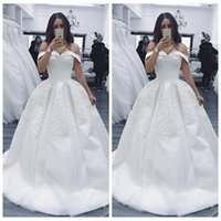 Wholesale cheap custom wedding dresses for sale - 2019 Off Shoulder Lace Appliques Wedding Dresses Beading Sequins Long Bridal Gowns Customized Vestidos De Fiesta Cheap Garden Wedding Gown