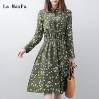 Wholesale green cap la resale online - La Maxpa Mori Girl Spring Autumn Floral Dress Stand Collar Long Sleeve Elastic Waist Pleated Green Yellow Blue Shirt Dress M xxl Y19051102