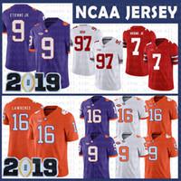 maillots de football américains achat en gros de-vente de Clemson Tigers pas cher 16 Trevor Lawrence Jersey NCAA 9 Travis Etienne Jr. Football américain Collège porter taille
