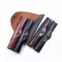 Wholesale handmade diy pen for sale - Group buy Handmade Button DIY Creative Leather Head Layer Retro Vegetable Tanned Leather Pencil Case Pen Set Pen Protector Free DHL