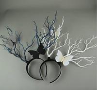 abartılı baş bandları toptan satış-Parti Kafa Avrupa ve Amerika Fotoğrafçılık Bayan Simülasyon Boynuz Twig Şapkalar GB614 Exaggerated
