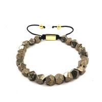 pyrit gold großhandel-Großhandel The Squared Bead Collection - Facettierte Eisen Pyrit Bettelarmband für Mann Frau Schmuck