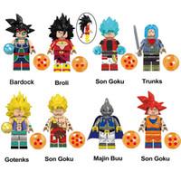 majin buu figür toptan satış-Eğitim Dragon Ball Z Süper Saiyan Son Goku Broli Bardock Sandıklar Gotenks Majin Buu Bardock Mini Oyuncak Şekil Yapı Taşı Tuğla
