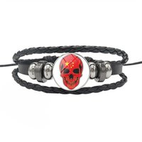 Wholesale china flags for sale - Group buy 2019 New Hot Fashion China National Flag World Time Gem Glass Cabochon Skull Series Button Jewelry Genuine Leather Rope Beaded Bracelet Gift