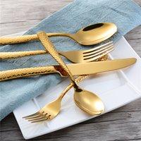 ingrosso forchette occidentali-Stoviglie per hotel in acciaio inossidabile Ispessite forchette e cucchiai occidentali da tavola Coltelli da cucina in cinque pezzi T9I0081