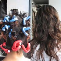 Wholesale bendy foam rollers hair curlers resale online - 10PCS Curler Makers Soft Foam Bendy Twist Curls DIY Styling Hair Rollers Tool Style Sponge Rollers Curly Hair
