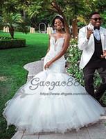 weiches spitze-nixe-hochzeitskleid großhandel-Nigerian Afrikanische Meerjungfrau Brautkleider 2019 Vintage Lace geschwollenen weichen Tüll bodenlangen Kristalle Perlen Braut Brautkleid plus Größe