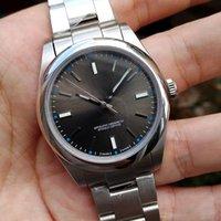 relógios automáticos de qualidade venda por atacado-2019 nova safira de luxo de alta qualidade perpétua sem data aço cúpula cinza de discagem 114300 mens mecânicos automáticos relógios dos homens relógios