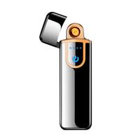 elektronik sigara çift toptan satış-USB Şarj Dokunmatik Algılama Anahtarı Çift taraflı Çakmak Rüzgar Geçirmez Alevsiz Elektronik Puro Sigara Hiçbir gaz Elektrikli Çakmaklar