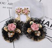 ingrosso orecchini di pizzo neri-Orecchini barocchi retrò stile palazzo esagerato perla nera strass strass orecchini fiore pietra preziosa all'ingrosso 072804