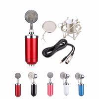 micrófonos rojos al por mayor-TTKK BM8000 Micrófono + Línea + Juegos de micrófono + Kit de montaje de metal Negro / Blanco / Rosa / Azul / Rojo para la relación Señal / ruido