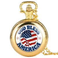 enlace reloj de cuarzo al por mayor-Elegante reloj de bolsillo de cuarzo para mujeres God Bless America Patrón Relojes de bolsillo para hombres Significativo Cadena de eslabones delgados reloj colgante