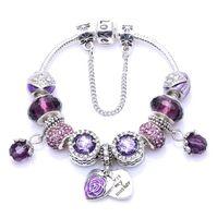 дизайнерские браслеты для женщин оптовых-роскошь дизайнер ювелирных женщин браслеты подходят Пандора DIY Фиолетовый Кристалл Европейский Шарм бисер Двойной любви браслет рождественский подарок браслеты