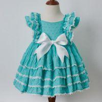 vestido de lã de algodão de algodão de verão venda por atacado-Princesa festa de anos do espanhol do vintage do bebé do outono 3PCS Boutique Summer Girl Blue Orange Cotton Vestido de renda Vestido Lolita Vestido T191007