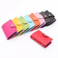 Wholesale leather buckle id card resale online - Fashion Holder PU Leather Buckle Business ID Card Holders Men Women Travel Cards Wallet HG99