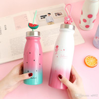 Wholesale large feet online - Unicorn Water Bottle Stainless Steel Student Tea Cup Enclosed Mention Strap Cups Large Capacity watermelon Lovely Maiden pnb1