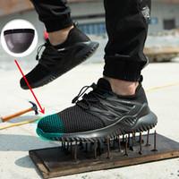 легкие защитные сапоги оптовых-JUNSRM Люди Обувь Открытый обувь Мужчины стала носком дышащей безопасности работа Boots Легкой и проколов нерушимых