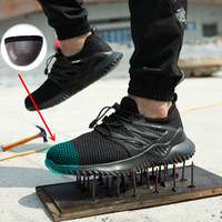 luces de seguridad al por mayor-JUNSRM zapatos de hombre zapatos al aire libre de los hombres de acero del dedo del pie del casquillo respirable Seguridad Botas de trabajo ligero y resistente indestructible punción