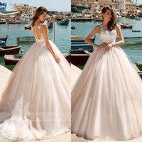 románticos elegantes vestidos de novia sexy al por mayor-Elegante Ilusión Volver princesa bola vestidos de novia vestido 2020 rebordear Apliques romántica simple de la boda Vestidos Vestido de Noiva