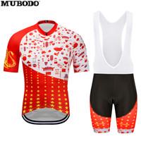 ingrosso vestiti della bici della porcellana-Maglia manica corta in maglia rossa China Style con pantaloncini con bretelle in jersey da ciclismo outdoor traspirante