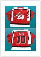 PAVEL BURE #10 CCCP RUSSIA HOCKEY WHITE JERSEY NEW SEWN ANY SIZE