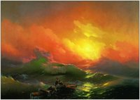 Wholesale wave paintings resale online - The Ninth Wave by Aivazovsky Ivan Home Decor Handpainted HD Print Oil Painting On Canvas Wall Art Canvas Pictures