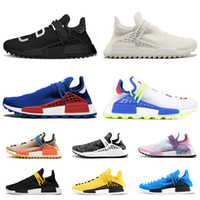 Wholesale human race shoes men for sale - With box Human Race Hu trail pharrell williams men running shoes Nerd black blue women mens trainers fashion sports runner sneakers