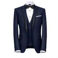 Wholesale mens wedding three piece tuxedo resale online - Navy Blue Designer Mens Suits One Button Groomsmen Wedding Tuxedos Notched Lapel Groom Suit With Jacket Vest And Pants Cheap Prom Blazers
