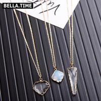 cam kalpler altın toptan satış-Moda Uzun Geometrik Kolye Kolye Kadınlar Için Altın renkli Yuvarlak Kalp Kare Üçgen Kristal Cam Charm Kolye NKS226