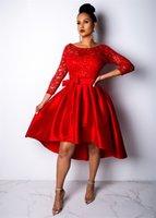 vestido de lentejuelas blanco ajustado al por mayor-Brillantes lentejuelas sexy fit y flare dress mujeres rojo 3/4 manga de encaje patchwork plisado dress primavera blanco sin espalda hueco vestido NZK-1553