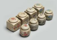çay seramiği toptan satış-1 ADET Çay Kavanoz Caddy için puer Ham Çömlek Oolong Çayı çin porselen seramik kavanoz çay bidonu kung fu depolama göğüs