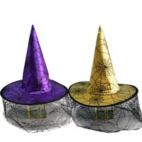 lustige hüte geben verschiffen frei großhandel-Spinnennetz Hexenhut Halloween Adult Kid Kleid Wizard Hut Festival Funny Celebration Magier Designer Hut Versandkostenfrei