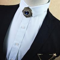laço de homens azuis venda por atacado-Bow Tie vestido do casamento do noivo Collar Fashion Trend Blue Diamond Gentleman estilo de roupa Men-coreano Laço da flor Broche