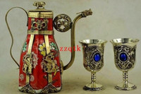 Wholesale Star Dragon armor hand decorated porcelain teapot one pair Miao silver goblet